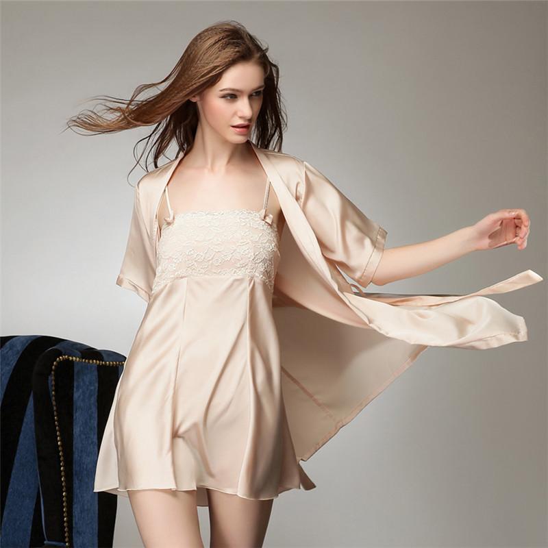 Лето с коротким рукавом халат женщин сексуальность пижамы шелковые спагетти ремень ночная рубашка шелк халаты гостиная twinset