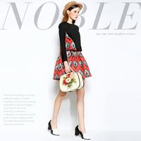 Mi15012231 fashion high quality vintage jacquard patchwork slim faux two piece one-piece dress