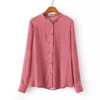 2014 Autumn Women's Vintage Leaf Pattern Print Stand Collar Long-Sleeve Rayon Shirt Female