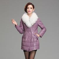 Leather clothing 2014 genuine sheepskin leather down coat medium-long female raccoon fur plus size slim leather clothing