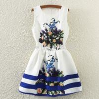 2015 Women's Navy Style Summer A-line Short-sleeve O-Neck Floral One-piece Dress Casual Dress Vestidos Femininos