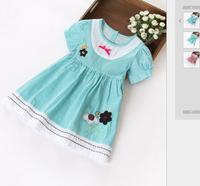 T1789 New 2015 Spring HIGH QUALITY Child Clothing  90-130cm Baby European & American Fashion Striped Princess Dresses F2