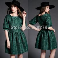 New Arrival Fashion Vintage lace 2015 Compound Elegant lantern sleeve O-neck slim one-piece dress
