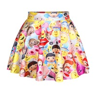 New Fashion Punk Women Mini Skirt Above Knee Girl's Emoji Skirt Cartoon Print Skirt