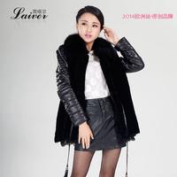 2014 sheepskin clothes genuine leather female medium-long down coat fur one piece fox fur outerwear