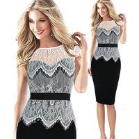 NEW 2015 Women Lace Dress Sheath Women ClothingTropical Vestidos Bandage Women Dresses Slim Business Career Party Pencil Dress