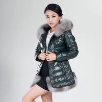 2014 genuine leather clothing female sheepskin down coat medium-long female fox fur hat tie