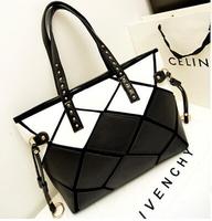 2015 new hot black and white diamond shoulder hit color mosaic fashion leopard handbag free ship
