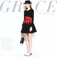 Mi15012207 fashion brief design color block decoration slim waist slim elegant one-piece dress