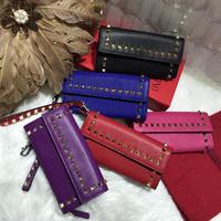 Free Shipping Women Ladies Real Leather Rivet Spike Clutch Wallet Wallets