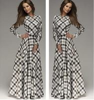 New Arrival Hot Sale O neck Long Sleeve European Fashion Plaid Long Dress For Women Slim Simple Causal Plus Size Women Dress