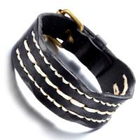 Mens Leather Bracelet, Punk Rock Bangle, Adjustable, Black , KR7818