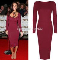 2color slim longuette great arrange long sleeve casual long dress party dresses free shipping