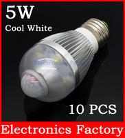 10PCS/Lot E27 Aluminum 5W 5-8M AL1035 90-250V Infrared Pir Motion Sensor 6 LED Auto Cool White Light Bulb Lamp Bright Soft