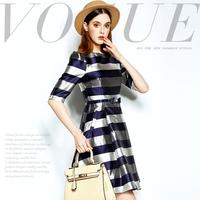 Mi15012213 fashion bow belt light color block stripe slim one-piece dress