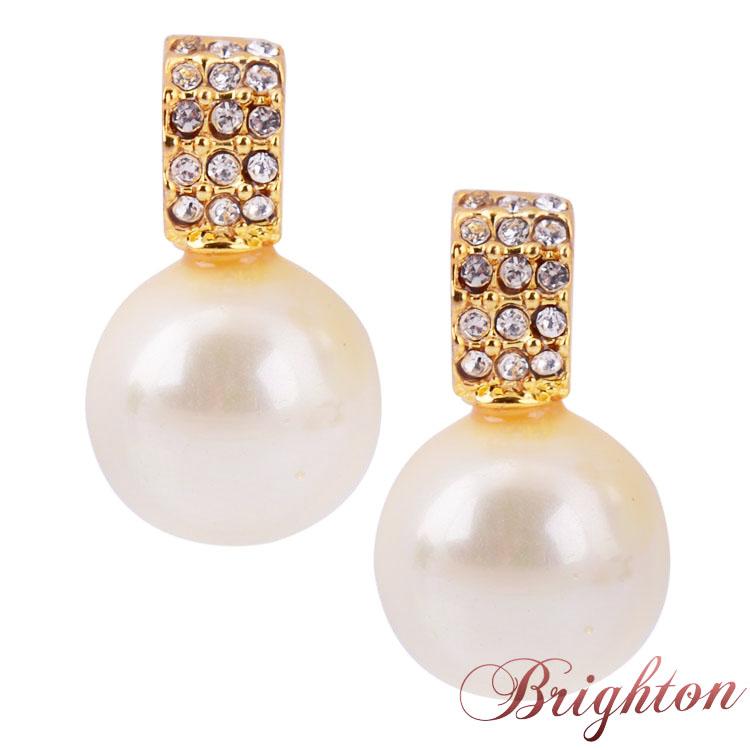 Fashion Jewelry Brand Design Gold/Silver Plated Simulated Pearls Pendant Charm Diamond Elegant Women Stud Earrings(China (Mainland))