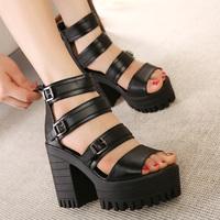 HOT Sales 2015  beautiful high heels women sandals fish head platform shoes thick heel female sandals