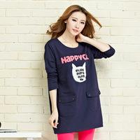 Clothing 100% cotton maternity clothing autumn  winter fashion print t-shirt plus size loose maternity top basic free shipping