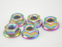 Multicolour Titanium Gr5 M8 DIN 6923 Pro Flange Nut for Bolt Screw Fastener Washer free shipping