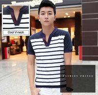 Red Blue Striped Men's T-shirt 2015 V-neck Summer Fashion Trend Top Tees Casual Short sleeve Men Slim undershirt Clothes M-XXXL