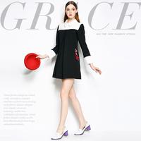 Mi15012225 fashion high quality handmade embroidery fox black and white color block a slim one-piece dress