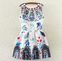 Free shipping ! 2014 spring women's o-neck sweet sleeveless vintage print basic vest one-piece dress  Vestidos Femininos
