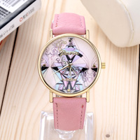 Top fashion specially design Geometric patterns watch Geneva luxury brand leather women dress quartz watch cartoon watches hour