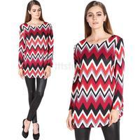 Women's Fashion Stylish Geometric Pattern Loose Long Sleeve Tops Blouse Long Shirt Dress Plus size SV010394