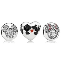 925 Sterling Silver Charm and Bead with Box Fit European Jewelry Bracelets & Necklaces- Minnie & Mickey Kiss Sets