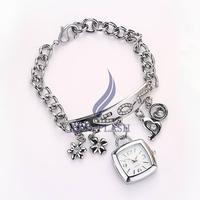 Women Dress Watches Metal Sling Hanging Chain Wrist Watch Silver Golden rhinestones Wristwatch female