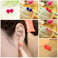 2015 New Fashion Jewelry Trendy Charm Pearl Statement Ball Stud Earrings Accessories For Women Girls Gifts
