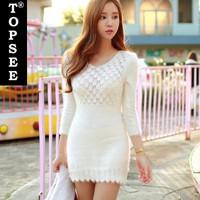 2015 New Cute Style Vintage High Waist Women Fish Scale Knit  Dress Korean Style Slim Style V-neck Women Clothing T3019