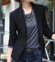 Over Size S-XXXL Blazers Women Black 2015 New Fashion Women Suit Jackets Wlim One Button Jacket Plus Size Blazer
