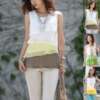 Hot Selling 2015 New Women Fashion Chiffon Shirts Lady Multi-layered Sleeveless Blouse Tops Plus Size