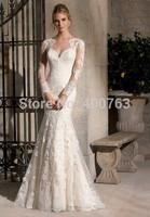 Effortless Mermaid High Neck Sweep Train Lace  Long Sleeves  Elegant Wedding Dresses