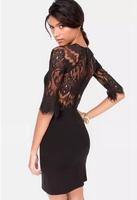 Delicate eyelash lace stitching lace fan-shaped sleeve sexy backless half  sleeve dress