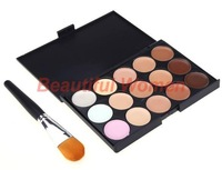 2015 New Arrivals Professional 15 Color Camouflage Concealer Make Up Cream Palette with Brush Free Shipping