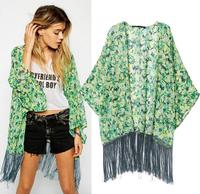 Women Loose Blouse Kimono Cardigan Casual Shirt Green Floral Tassel Long New Wild Fringed Printed Chiffon Coat  yw15013