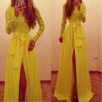 Brand New 2015 Hot Women Dress Lace Stitching Chiffon Long Sleeve Bowknot Belt Floor-Length Dresses Elegant Vestidos S-L