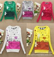 Excellent !2015 Autumn Women Sweatshirt Long Sleeve Cotton Printed Sweatshirt Casual Hoodies