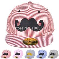 Latest Kids Hip-hop Mustache Baseball Caps Striped Boys Girls Snapback Cap Children's Sun Hat & Cap 5pcs SW021