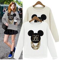 Hot Sale Women Cartoon Design Printing Pullover O-neck Loose Long Sleeve Sweatshirt Tops S-XL