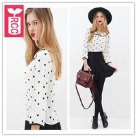 Newest 2015 High quality Chiffon Peach heart Doll collar blouse womens Three Quarter sleeve tops tees shirts