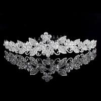 Luxury White Gold Plated Austria Crystal Rhinestone Wedding Flower Tiara Combs Accessary Jewelry