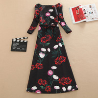 Brand Luxury Elegant Vintage Floral Print Half Sleeve A Line Dress With Belt, Spring Autumn Long Maxi Flower Dresses Plus Size