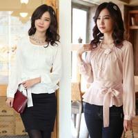 Classic Fashion Women Career Chiffon Blouse Size S-2XL Smart Waist Rayon Sweet Lady White & Pink Casual Shirts