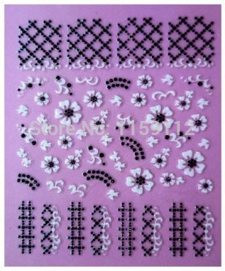 Factory Price 3D Nail Art Stickers Beauty Cross Black Lace White Flowers Design Decorative Manicure Foils Stamping Tools(China (Mainland))