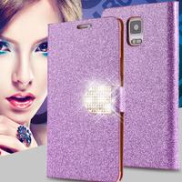 Rhinestone Bling Diamond  Phone Bags Sleeve Cover For Samsung Galaxy Note 4 IV N9100/N9106W/N9108V/N9109WN910U Wallet Stand Case