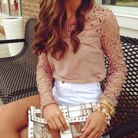 Fashion Autumn Womens Lace Sleeve Chiffon Blouse Shirt Hollow Out Tops  Free Shipping  K5BO