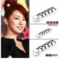 Beautiful  Pearl Black Metal Spiral Hair pin Clip Pick Barrette Women Hair Accessories 10 pcs/lot T3132